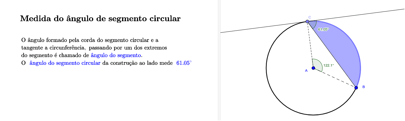 Medida do ângulo de segmento circular Press Enter to start activity