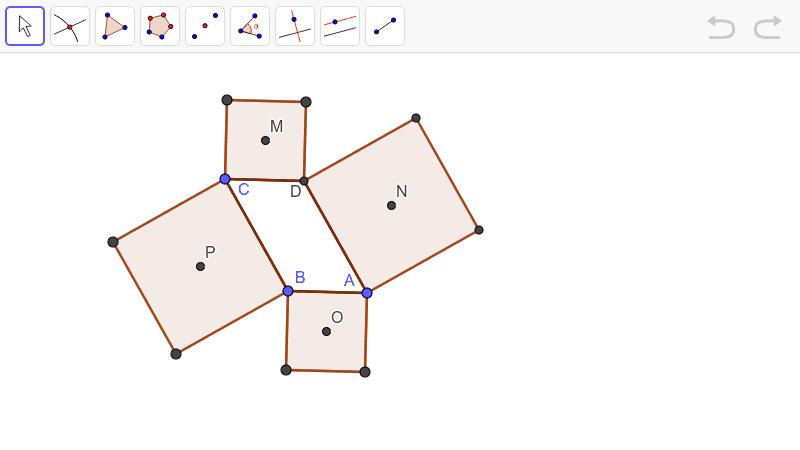 A seguir encontras um paralelogramo [ABCD] e os quadrados construídos a partir dos lados desse paralelogramo. Os pontos M, N, O e P são os centros dos quadrados. Constrói o quadrilátero [MNOP]. Press Enter to start activity