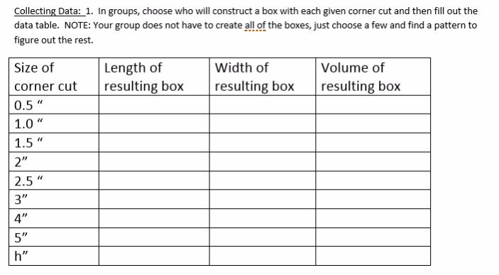 Fill out table with your group