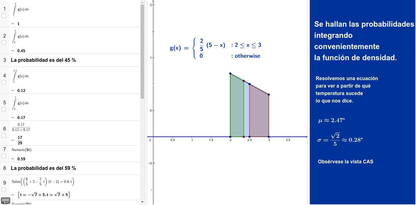 """Hallamos los parámetros de una distribución de probabilidad, de la que conocemos la función de densidad. Utilizamos la vista CAS. Tapez """"Entrée"""" pour démarrer l'activité"""