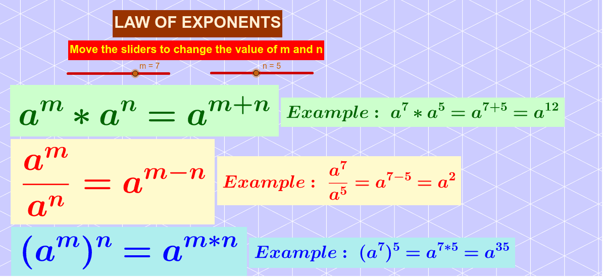 LAW OF EXPONENTS Press Enter to start activity