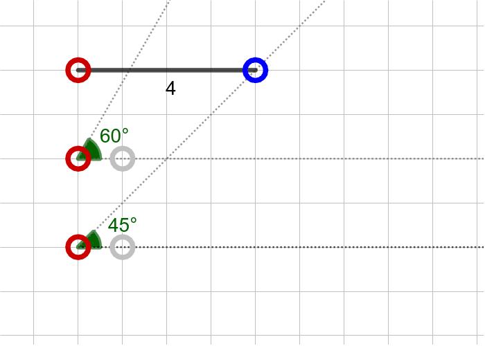 과제9. 한 변의 길이가 4이고 한 끝각의 크기가 45º, 대각의 크기는 60º인 삼각형(SAA) 활동을 시작하려면 엔터키를 누르세요.