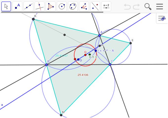 赤い円となる。その中心は重心。 ワークシートを始めるにはEnter キーを押してください。