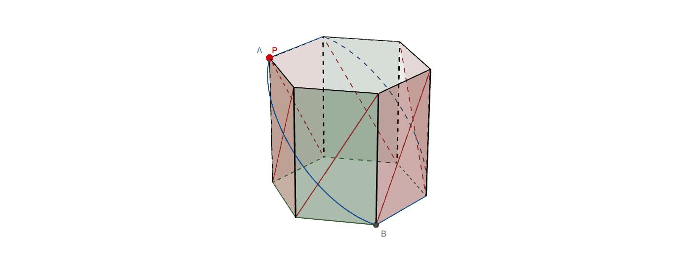 Pを掴んでAからBへ青実線上を移動させると六角柱が折り畳まります。 ワークシートを始めるにはEnter キーを押してください。