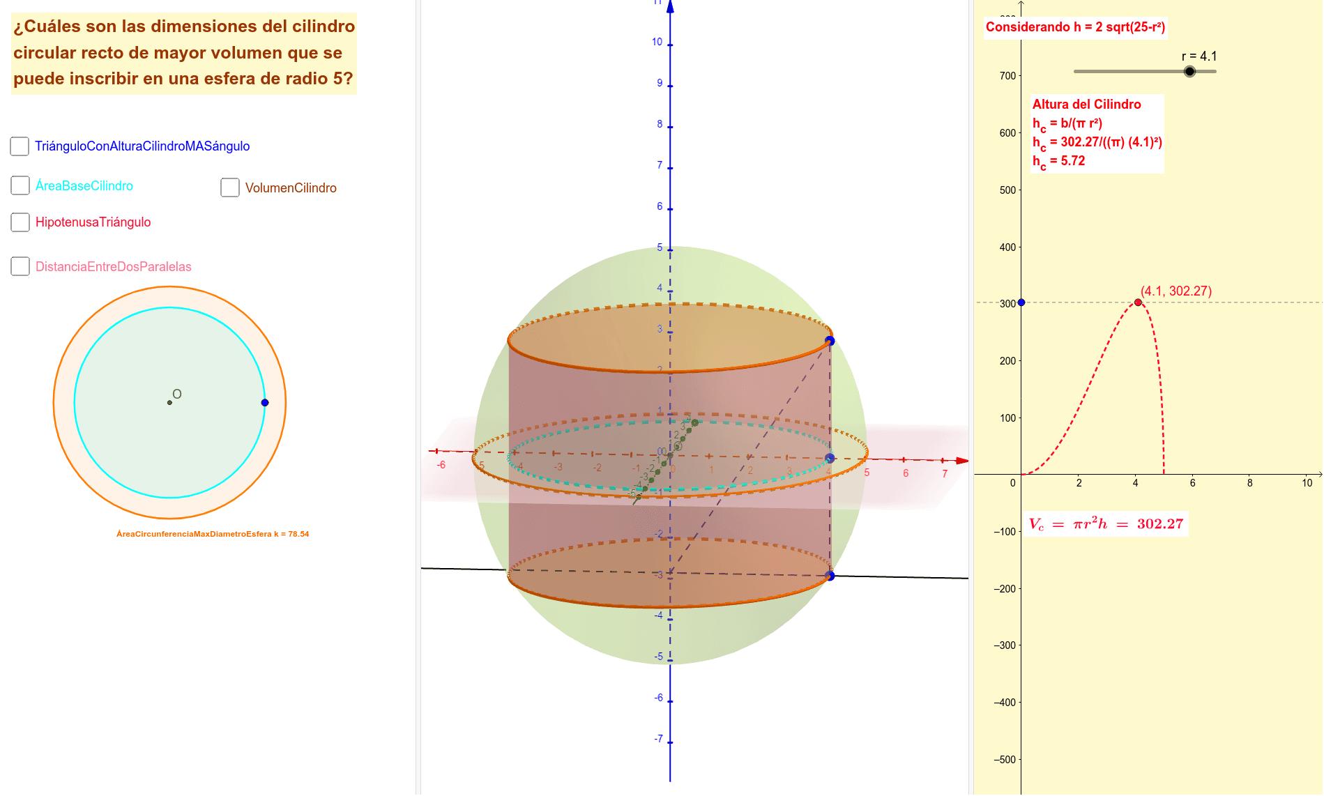 Analiza la aplicación y sus opciones, antes de resolver el problema ... Este problema determina las dimensiones de un cilindro circular recto inscrito en una esfera de radio dado Presiona Intro para comenzar la actividad
