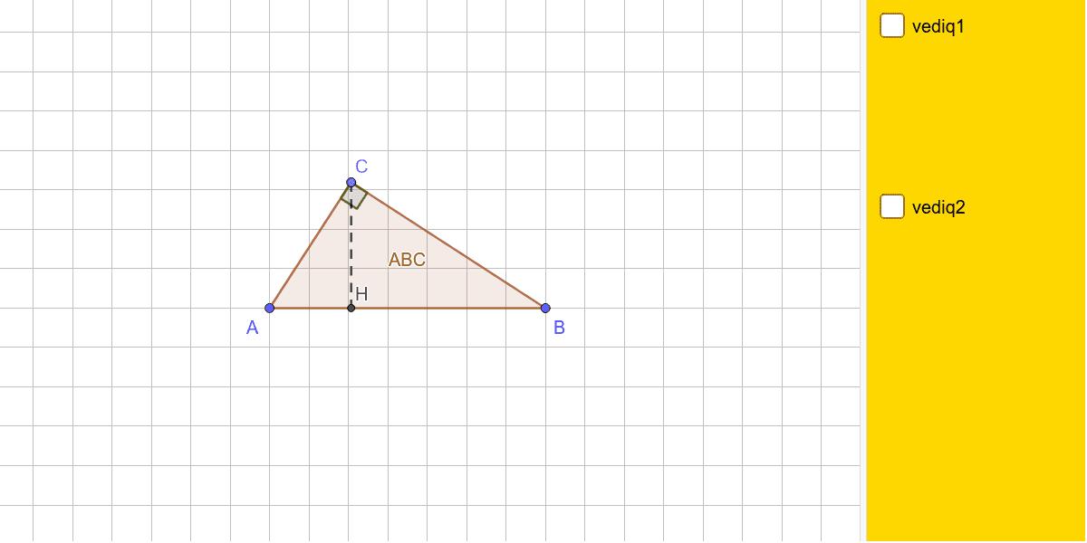 Visualizza uno dei due quadrati costruiti sui cateti ed utilizza lo slider per ruotare l'ipotenusa. Premi Invio per avviare l'attività