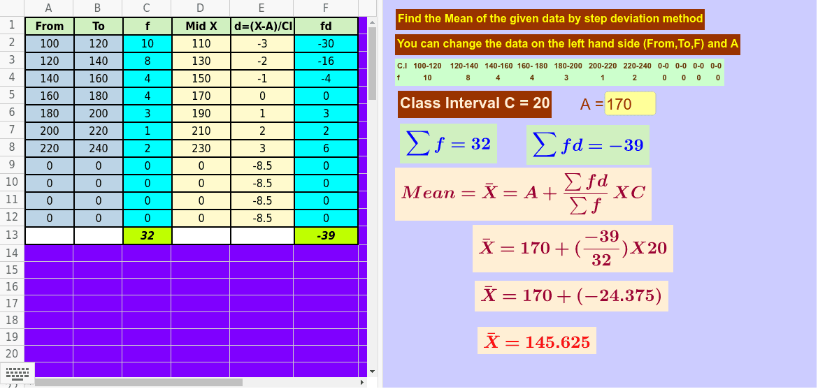 Can change the interval, frequency and Assumed mean for new problem Press Enter to start activity