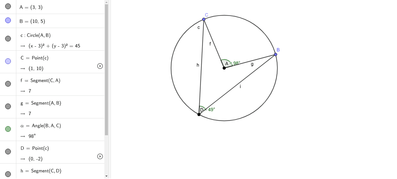 Move point D around the circle.  Press Enter to start activity