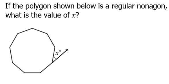 1) To find the number of degrees for each exterior angle of a regular polygon, divide 360 degrees by the number of angles. Answer below.