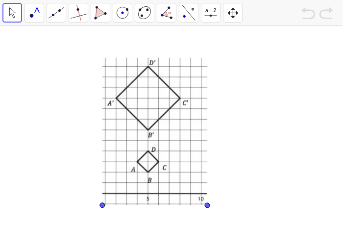 Use the line tool to determine the coordinates for the center of dilation.  Press Enter to start activity