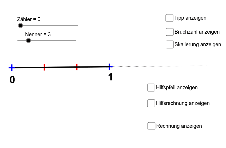 Applet II) Addition von Bruchzahlen durch Voranschreiten am Zahlenstrahl. Drücke die Eingabetaste um die Aktivität zu starten