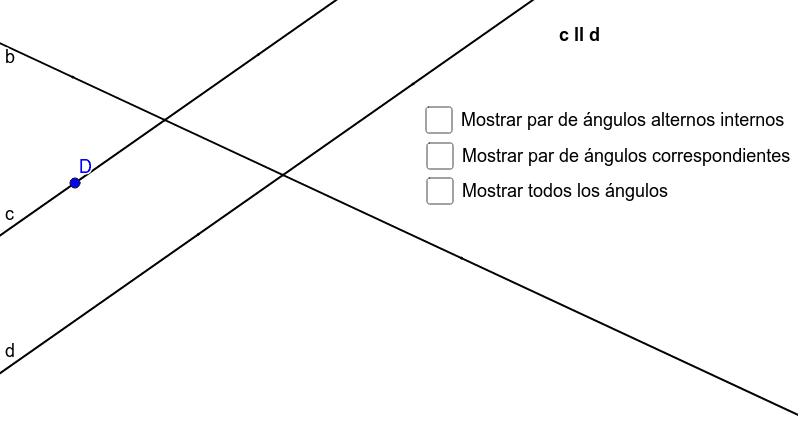 Propiedad de ángulos alternos internos y correspondientes entre rectas paralelas Presiona Intro para comenzar la actividad