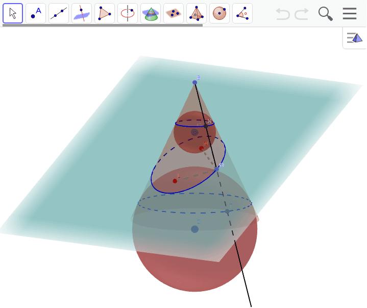 円錐の切断から楕円の焦点を求める。この焦点と楕円周上の点Qを結んだ線分の和は、Qがどこにあっても一定。∵QT=QL、QS=QNだから。Qを動かすとすぐにわかります。 ワークシートを始めるにはEnter キーを押してください。