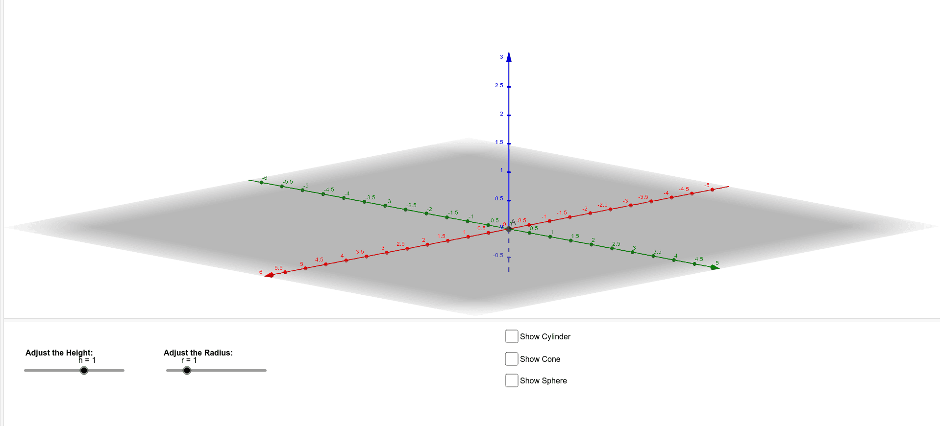 This applet is intended for the exploration of the relationship between the volume of cylinders, cones, and sphere. Adjust the sliders for the height and radius of the cylinder, cone, and sphere and see how the three 3D figures vary in volume/. Press Enter to start activity