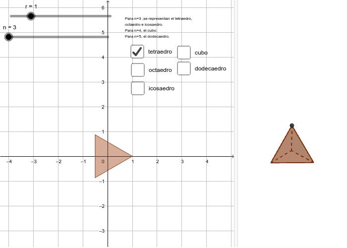 8)Visualice los 5 sólidos platónicos. Presiona Intro para comenzar la actividad