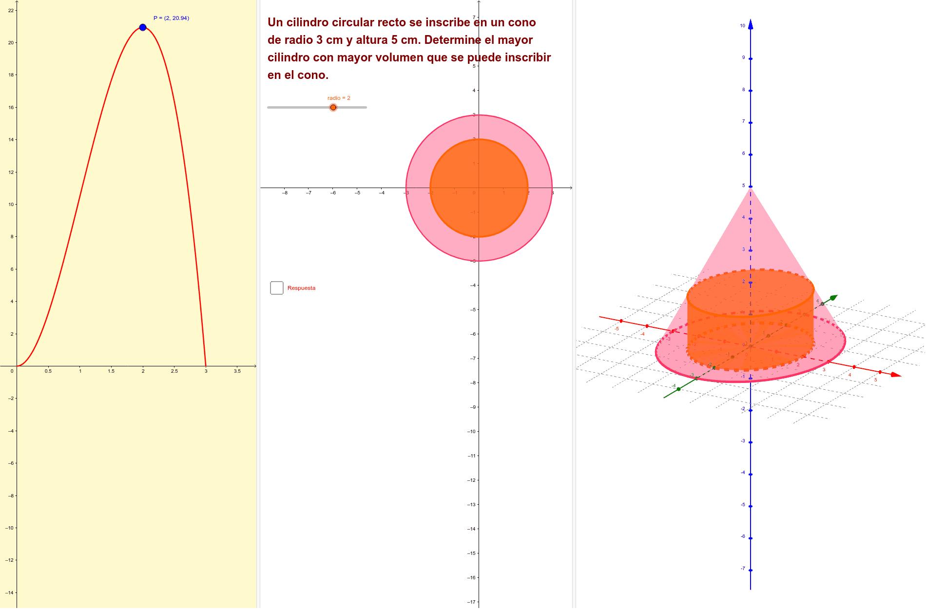 Analiza la aplicación antes de resolver el problema ... Determinar las dimensiones de un cilindro, cuyo volumen sea máximo, estando inscrito en un cono de condiciones dadas Presiona Intro para comenzar la actividad