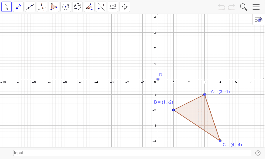Translate the given triangle (x,y)-->(x-5, y+4); then rotate 90 degrees counterclockwise around D. Press Enter to start activity