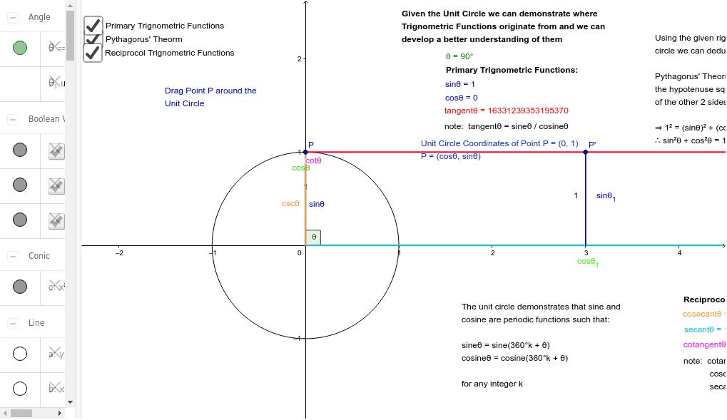 Trignometric Unit Circle Press Enter to start activity