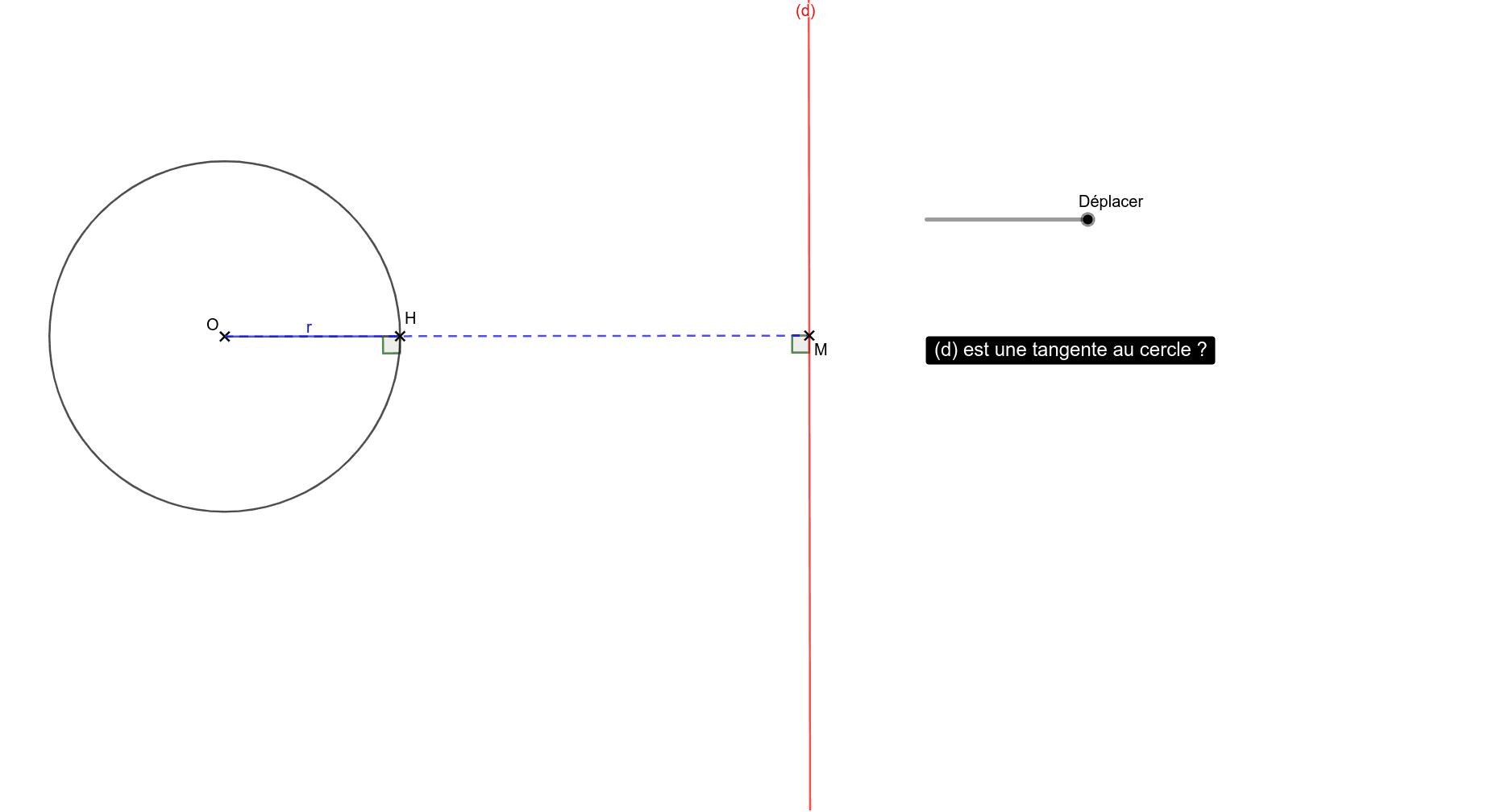 """Déplacer le curseur ou le point H. Tapez """"Entrée"""" pour démarrer l'activité"""