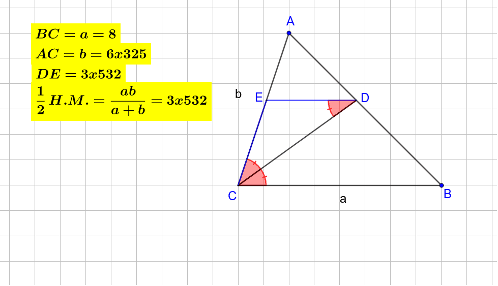The applet helps to understand that for each triangle ACB with angle bisector CD and DE||CB, DE is half the harmonic mean of AC and BC. Press Enter to start activity