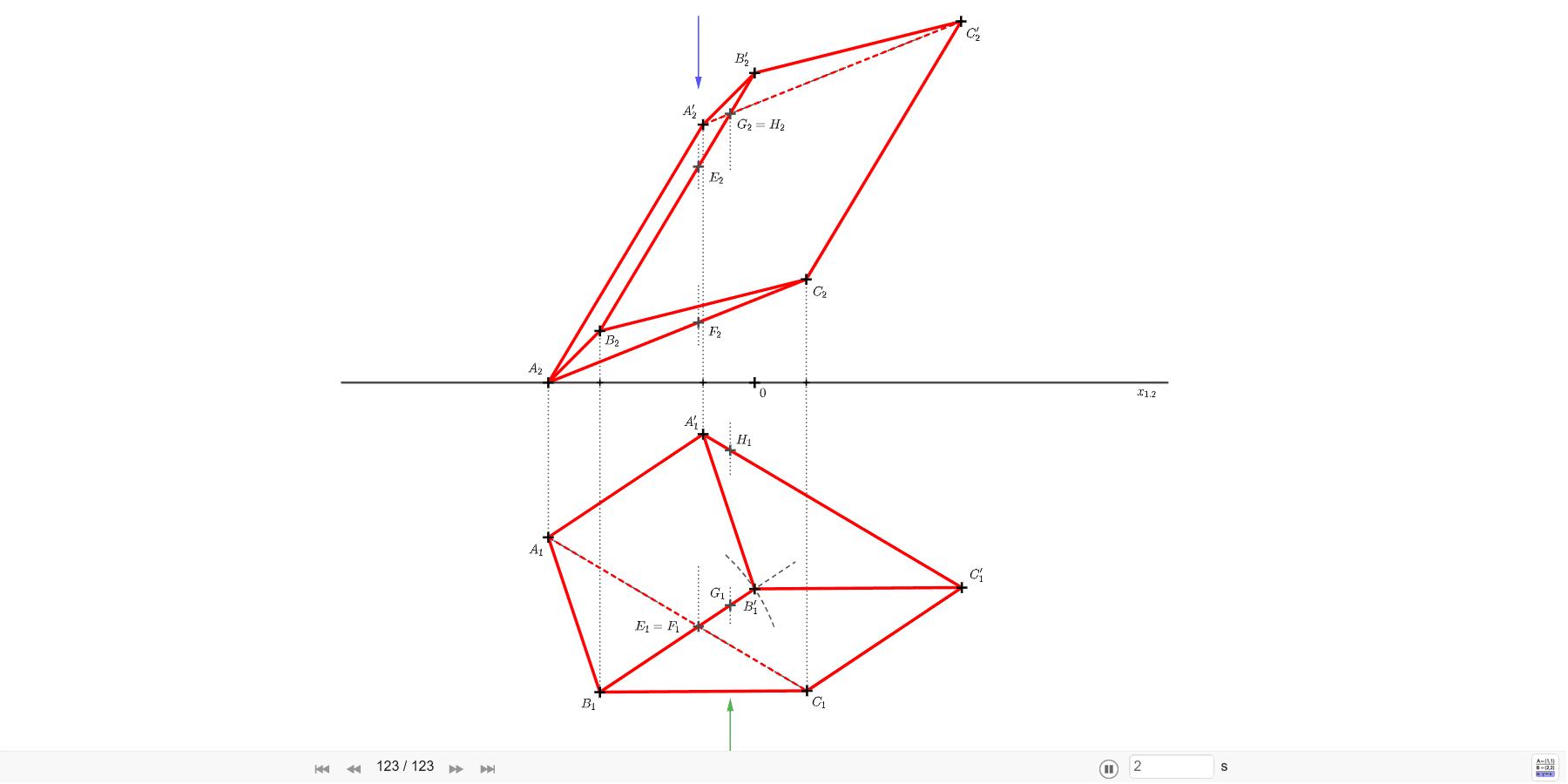 Sestrojte průměty trojbokého kosého hranolu ABCA'B'C', je-li dáno A=[-4; 3; 0], B=[-3; 6; 1], C=[1; 6; 2], A'=[-1; 1; 5]. Zahajte aktivitu stisknutím klávesy Enter