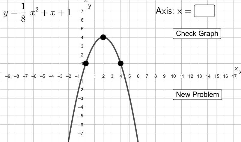 For the quadratic function shown in the upper left corner, enter its axis of symmetry. Then graph it using the LARGE 3 POINTS.  Press Enter to start activity