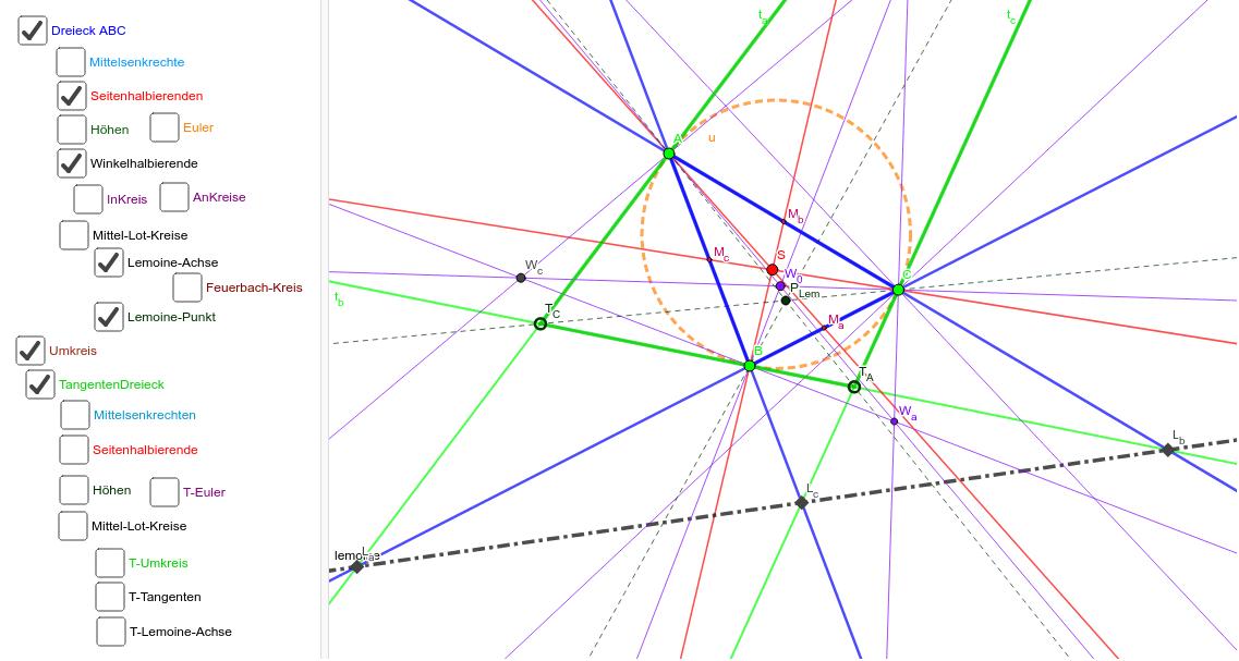 Das unerschöpfliche Szenarium der Dreiecks-Punkte und Geraden -- bewege A, B, C Drücke die Eingabetaste um die Aktivität zu starten