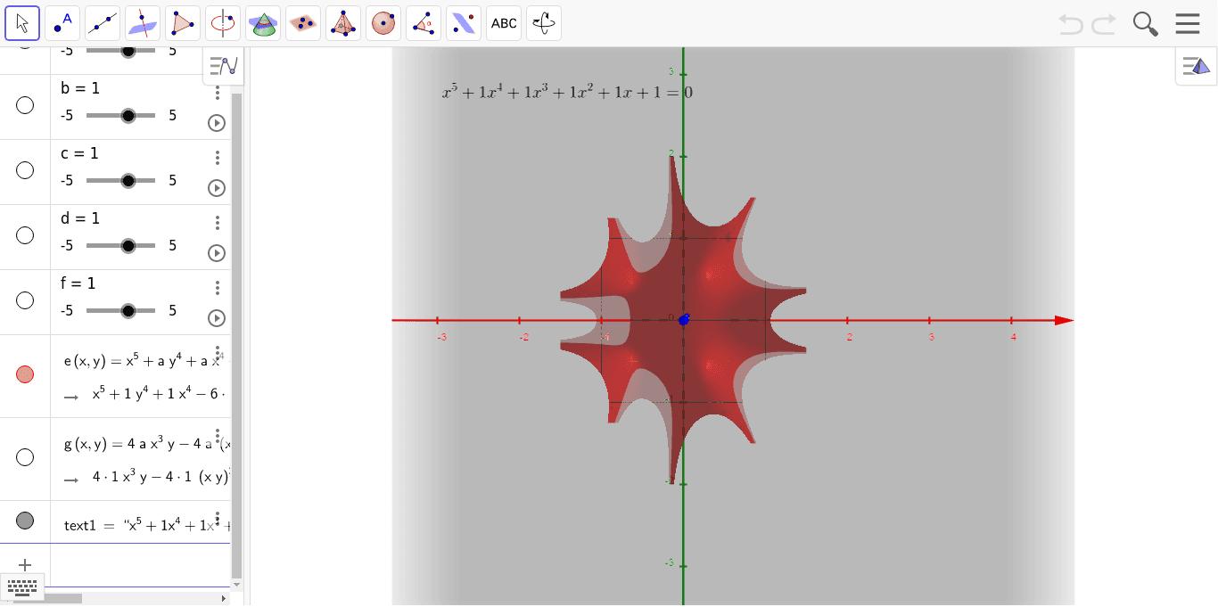 5次方程式の実部と虚部 ワークシートを始めるにはEnter キーを押してください。
