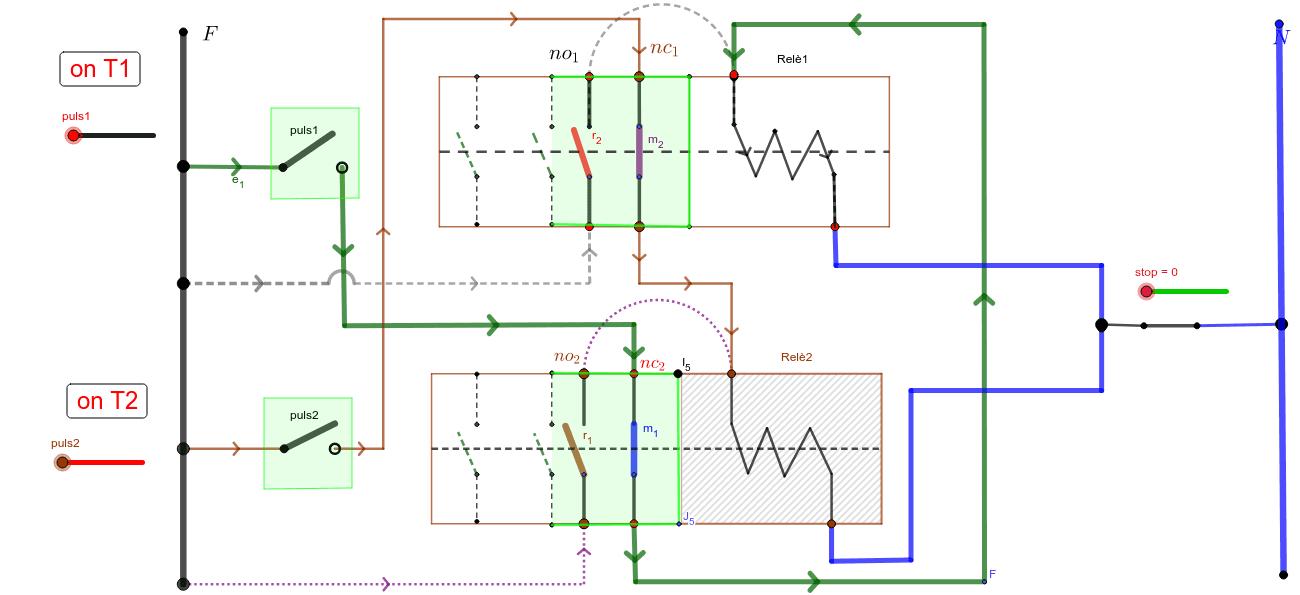 autoritenuta teleruttori - circuito relativo al solo T1. Agg.to 22.12.2017 - Per meglio comprendere il funzionamento utilizzare gli slider manualmente. Premi Invio per avviare l'attività