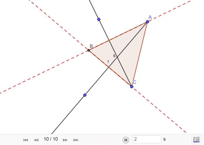 Triángulo a partir de dos alturas Presiona Intro para comenzar la actividad