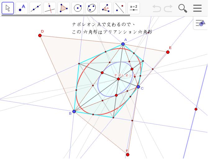 フェルマー三角形の重心がナポレオン点で交わるので、ブリアンション六角形ができます。そうすれば、内接楕円が作図できることになります。 ワークシートを始めるにはEnter キーを押してください。