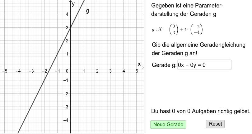 Geradentrainer 2: Parameterform - Gleichungsform Drücke die Eingabetaste um die Aktivität zu starten