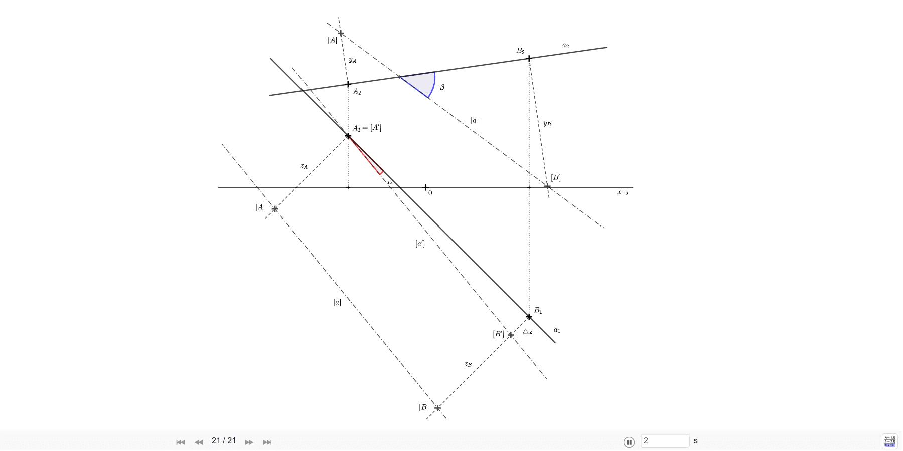 Určete odchylku přímky a=AB od obou průměten. A=[-3; -2; 4], B=[4; 5; 5]. Zahajte aktivitu stisknutím klávesy Enter