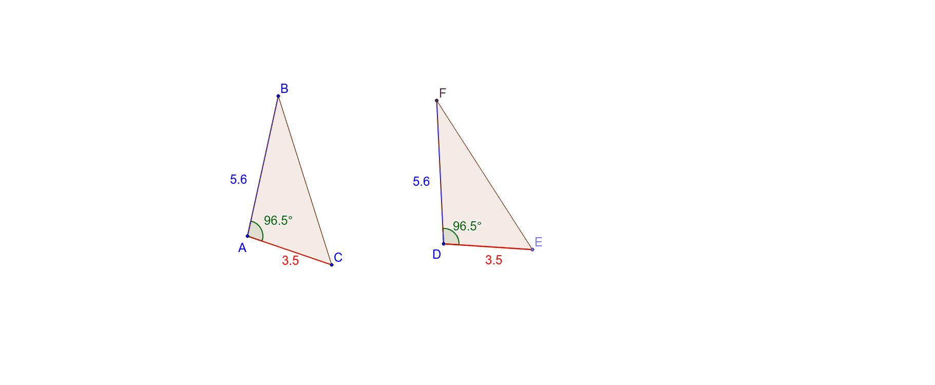 2 corresponding sides of equal length and the same angle between them. Always congruent? Press Enter to start activity