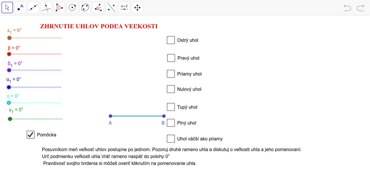 Zhrnutie uhlov Zahajte aktivitu stisknutím klávesy Enter