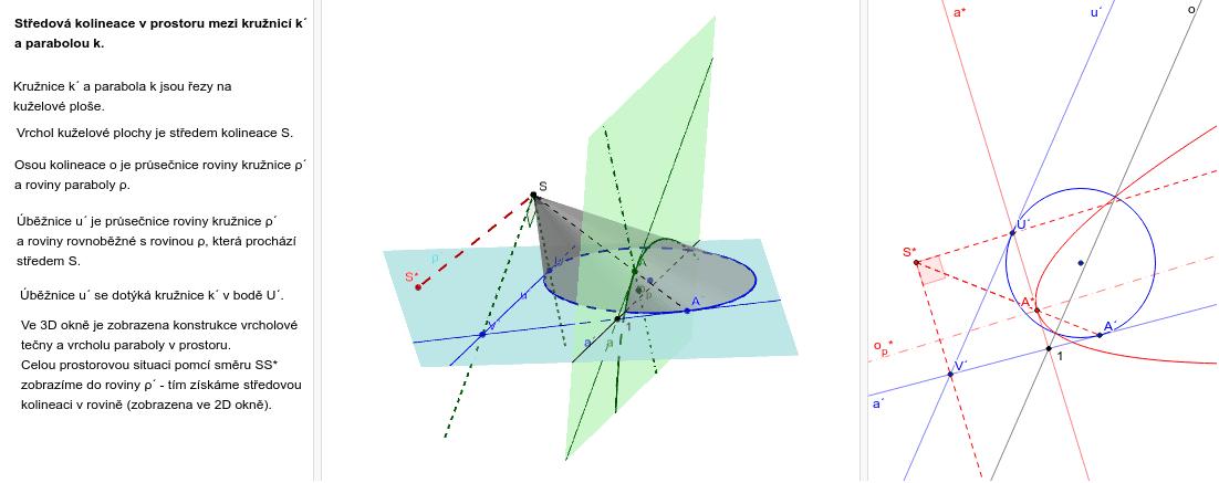 Kolineace mezi kružnicí a parabolou Zahajte aktivitu stisknutím klávesy Enter