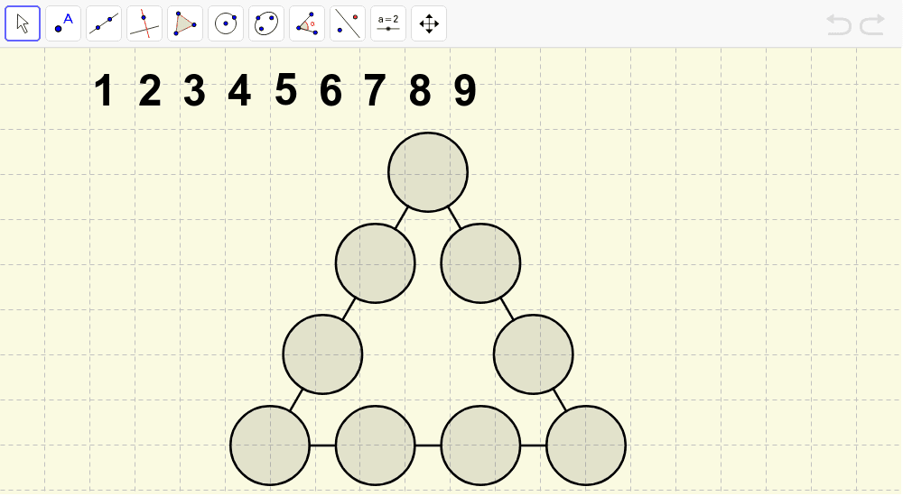 Place the digits 1 to 9 into the circles so that each side of the triangle adds to the same total. Press Enter to start activity
