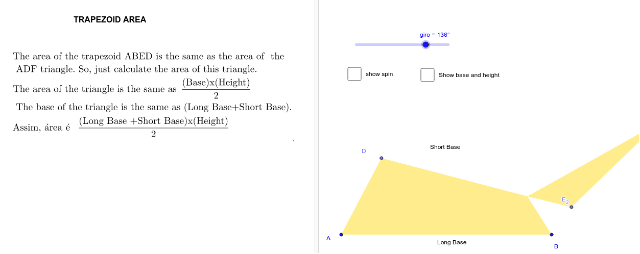 """Formula of the Trapezoid AREA - * (set the """"spin"""" bar at 180º) Press Enter to start activity"""