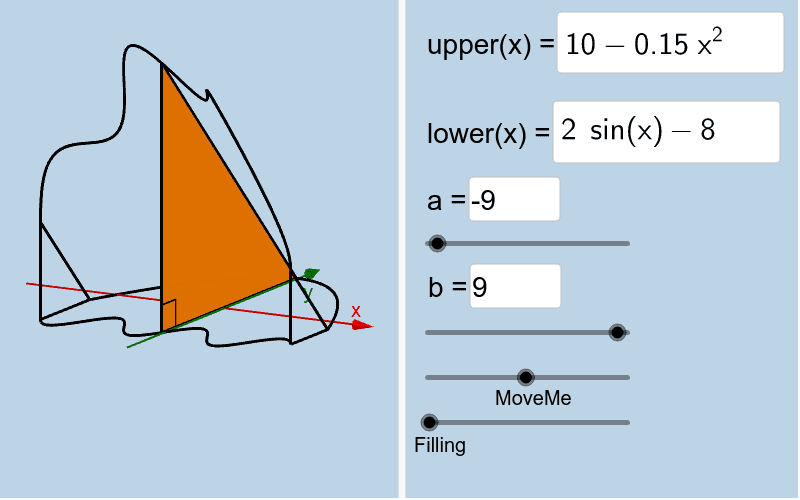 This solid has 45-45-90 triangle cross sections parallel to the yAxis (leg lies in base). Create a solid with a base that is similar to these cross sections so that its (base) area = 50. Press Enter to start activity
