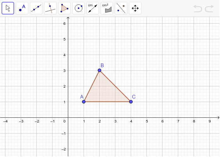 Berapakah luas hasil dilatasi segitiga ABC dengan faktor skala 2?  (titik asal dilatasi (0,0)) Press Enter to start activity
