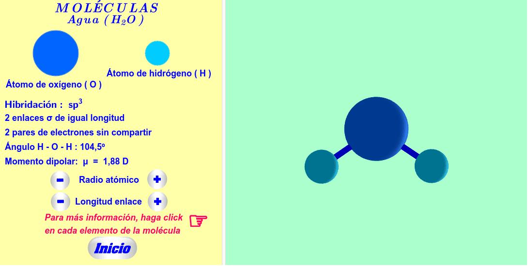 Molécula interactiva de agua. Los radios atómicos y las longitudes de los enlaces se pueden variar. Para más informaciones, haga click en cada texto, átomo y enlace de la molécula. Presiona Intro para comenzar la actividad