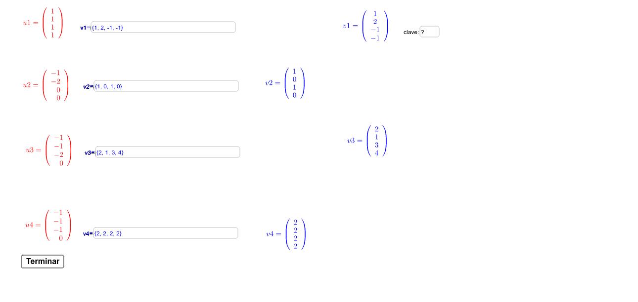 Evaluador Gram-Schmidt R^4, Clave:3672 Presiona Intro para comenzar la actividad