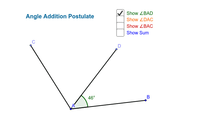 Angle Addition Postulate Press Enter to start activity