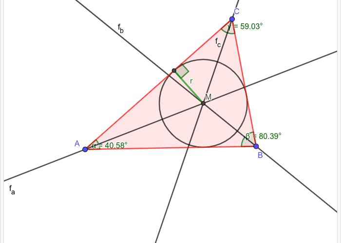 A háromszög beírt köre Press Enter to start activity