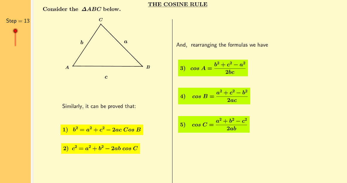 The Cosine Rule Press Enter to start activity