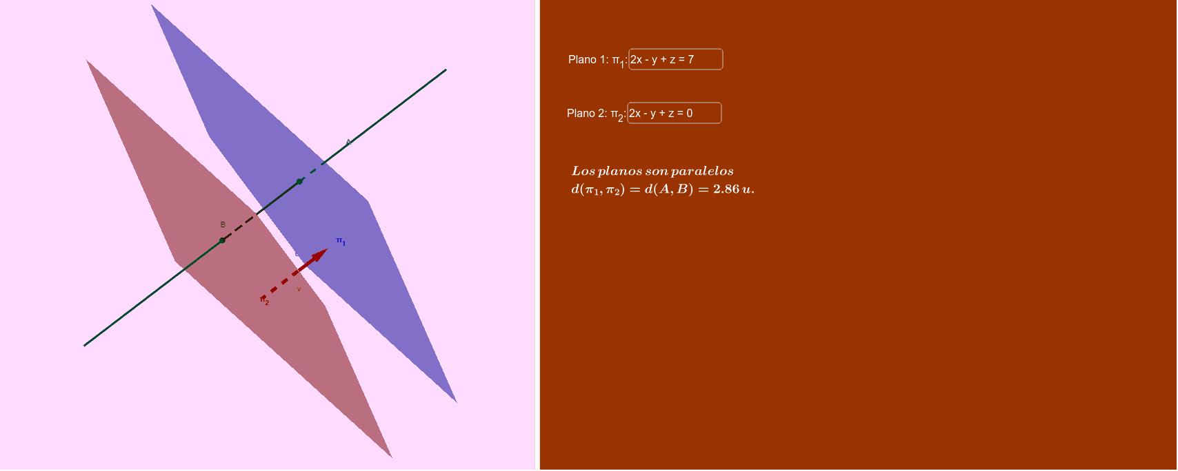 """Obviamente sólo tiene sentido la distancia entre 2 planos paralelos. En otro caso, la distancia es 0. Puedes girar la animación para verla mejor. Tapez """"Entrée"""" pour démarrer l'activité"""