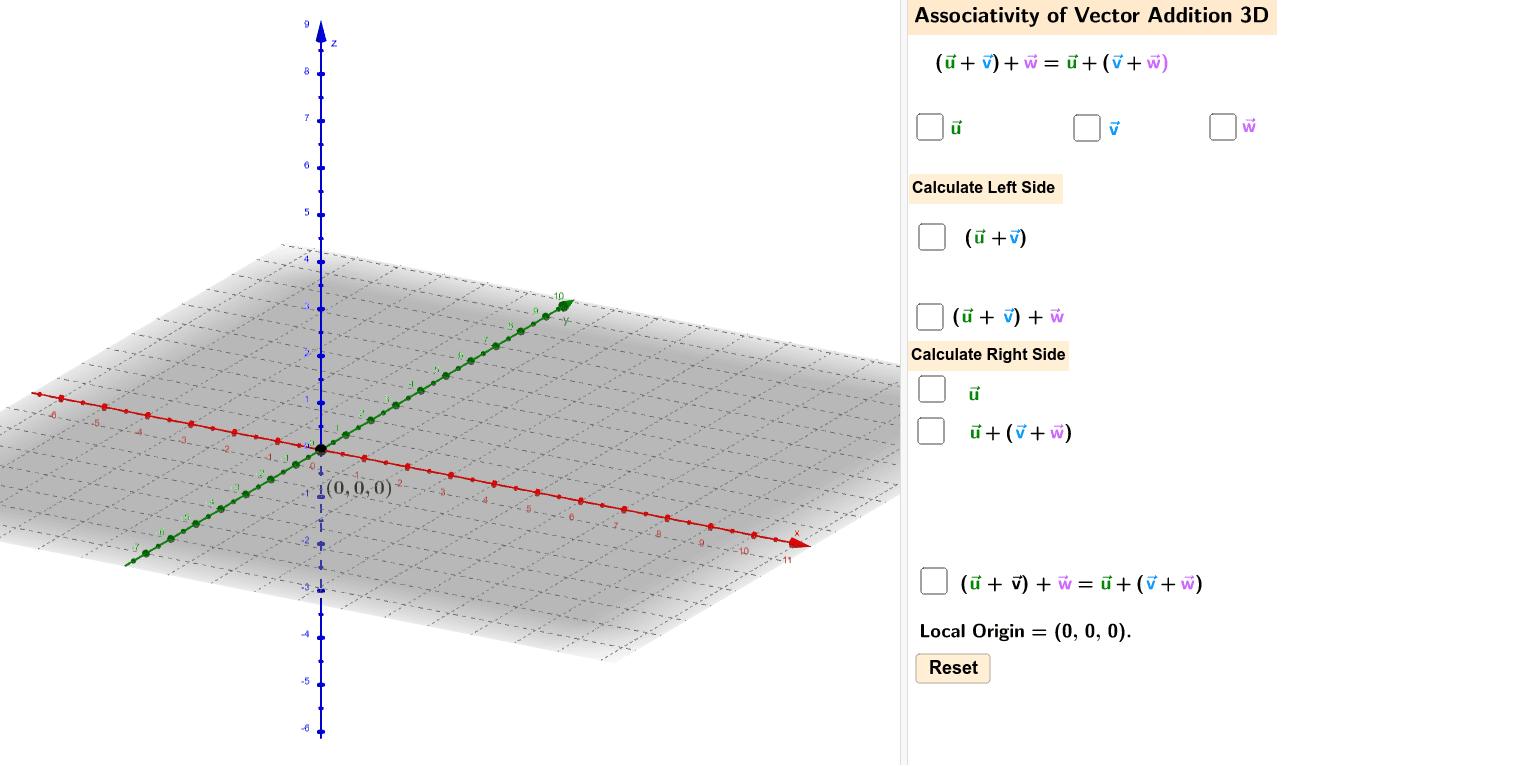 Applet - Associativity - 3D  Press Enter to start activity