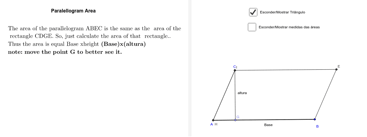 Formula for the Paralellogram Area Press Enter to start activity