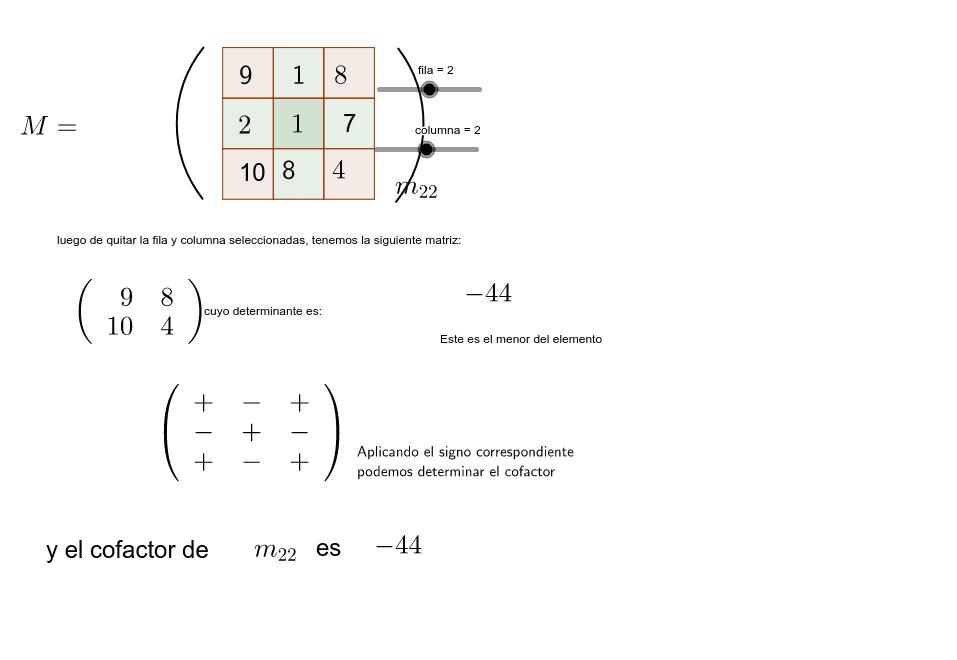 CoFactores de una Matriz Presiona Intro para comenzar la actividad