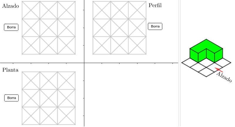 Pulsar sobre cada segmento hasta que el trazado de cada una de las vistas coincida con el de la figura dada a la derecha Presiona Intro para comenzar la actividad